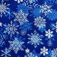 Snowflakes on Blue Merry Christmas Print 100% Cotton Fabric