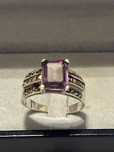 Silber Ring Amethyst Markasit Pyrit Art Deco Edelstein 925 Silber rar Vintage