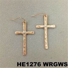 Silver Wire Wrapped Dangle Hook Earrings Hammered Cross Shape Rose Gold Finish