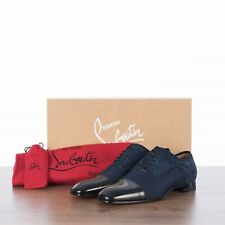 CHRISTIAN LOUBOUTIN 895$ Greggo Oxford Shoes In Navy & Black Mix Materials