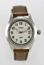 Fossil DRT Watch Men Brown Leather Date Stainless Steel Silver 50m Beige Quartz