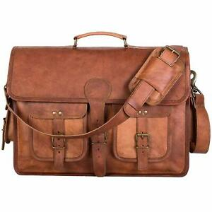 Distressed Genuine Vintage Leather Messenger Laptop Bag Shoulder Briefcase Men's