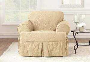 Matelasse Damask One Piece T-cushion Chair Slipcover tan new