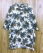 VINTAGE MENS NO BOUNDARIES HAWAIIAN SHIRT SIZE XL WHITE PALM TREE SHORT SLEEVE