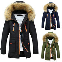 Men Winter Warm Trench Coat Fur Hooded Jacket Parka Overcoat Padded Outwear XS-L