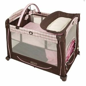 Graco Element Pack n Play - Erin with Toys and Diaper Station Pink & Brown