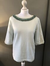 Ted Baker Mint Green Top With Crystals Round Neckline - Size 3 (UK 12)