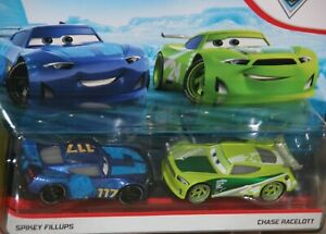 "DISNEY PIXAR CARS 3 ""2-PACK SPIKEY FILLUPS & CHASE RACELOTT"" NEW IN PACKAGE"