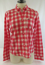 New Hollister Women's Red & White Plaid Button Up Long Sleeve Shirt Size Medium