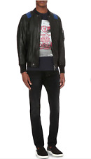 €615 NWT DIESEL L Kittie Mens Black Contrast Panel Goat Leather Bomber Jacket L