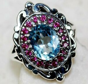 4CT Aquamarine & Ruby 925 Solid Sterling Silver Victorian Style Ring Sz 7, FO3