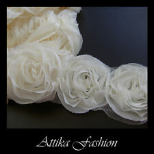 Ivory --- Chiffon Mesh Lace Fabric Trim *Per yard* *12 Flowers*