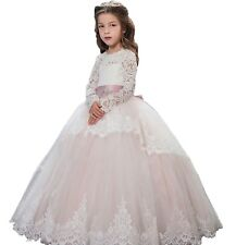 Beautiful Princess Floral Lace 2018 Long Sleeves Flower Girls Pagent Dress