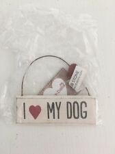 I Love My Dog Gift Present Plaque Hanging Sign Red Heart