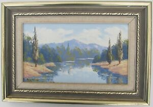 """ANNE HOLMES FRAMED OIL """"RIVER AND MOUNTAINS NEAR BRIGHT"""" C 1985 A"""