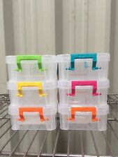 6x 0.3L Plastic Storage Tub Boxes with Clip on Lids Paper Clip Pencil tubs