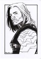 Captain America, Winter Soldier, Original Art, Inked Sketch, by Pow Rodrix, 8x11
