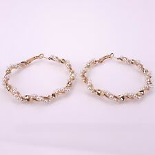 55mm 1 Pair Simulated Pearl Beaded Fashion Twist Gold-colored Big Hoop Earrings