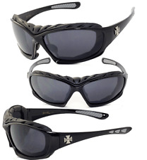 Choppers Foam Padded Sunglasses w/ FREE Pouch -  Black Frame Black Lens C49