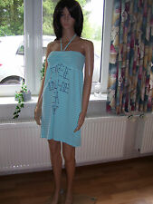 Roxy Minikleid Sommerkleid Stretch aqua schulterfrei Neckholder M neu