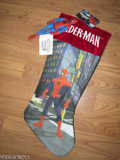 Marvel Heroes Spiderman Christmas Stocking W/ Removable Fabric Mini Doll Figure~