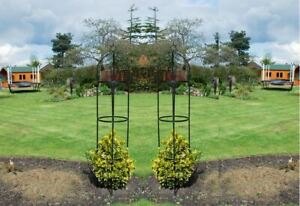 2 X LARGE METAL GARDEN OBELISK HEAVY DUTY STRONG TUBULAR PLANT CAGE ROSE NEW