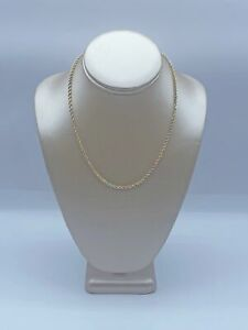 """9ct Yellow, White & Rose Gold Rope Chain Necklace For Women & Kids - 18"""", 2mm, 3"""