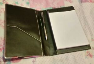 5 xBlack leather faux notebook holder- metal pen & side compartment/ Organiser