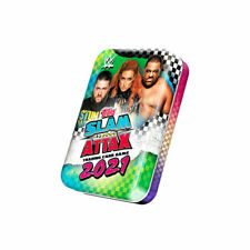 2021 TOPPS WWE SLAM ATTAX CARDS – MINI TIN (36 CARDS + 2 LE) (GREEN & BLUE)
