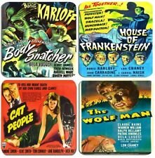 Classic 1940s Horror Movie Poster Coasters Set Of 4 High Quality Cork. Film Gift