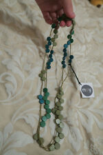 Brand new with tag retro African style wooden flat bead long necklace blue green