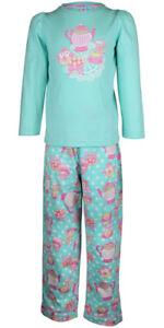 MiniZZZ Tea Party L/S Cotton T-Shirt / Flannel Pant Pyjama Set Aqua/Pink (2)