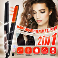 2 in 1 Professional Hair Straightener & Curler Flat Iron Curling Hair  US