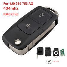 2 BTN Key Fob Flip Keyless Entry Remote For 1J0 959 753 AG VW SEAT SKODA 434MHz