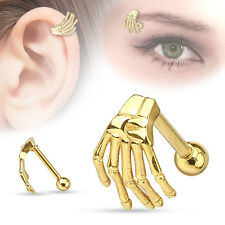 """1 Pc Gold IP Plated Skeleton Hand Tragus Cartilage Eyebrow Ring 16g 5/16"""""""