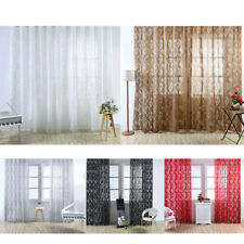 2x Bubble Leaf Design Window Curtain Voile Gauze Curtain Sheer, Rod Pocket Style