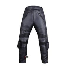 Men's Racing Motorcycle Leather Black Pants w/ Sliders & 4PC CE Armor