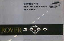 Rover P6 2000 original Owners Maintenance Manual (Handbook) 1966 4808