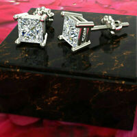 1 ct Princess Cut Diamond 14k White Gold Fn Solitaire Stud Earrings For Women's