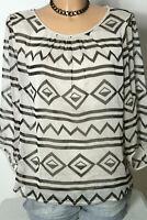 comma Bluse Gr. 34 schwarz-beige 3/4-Arm A-Linie Muster Chiffon Bluse