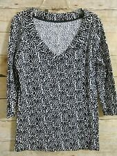 Nicole Miller Blouse Top Shirt Women's Black White 3/4 Sleeve Low V-Neck Medium