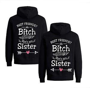 BFF Beste Freunde Hoodie Set Pullover Kapuze Best Friends Bitch Sis Sister