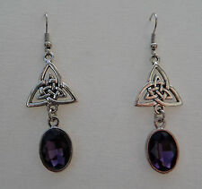CELTIC KNOT DK SILVER PLATED TRI EARRINGS FACETED PURPLE GLASS CRYSTAL OVAL HOOK