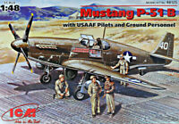 ICM 48125 P-51B with USAAF Pilots and Ground Personnel, 1/48 plastic model kit