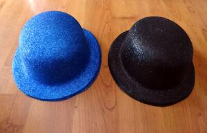 Lot de 2 chapeaux melon pailletés pour déguisement1 bleu 1 noir Adulte TU - BE