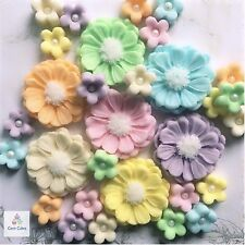 30 Edible Flowers Pastel Sugar Bouquet Cake Toppers Cupcake Decorations Wedding