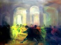 DANCE GALANTE. OIL ON CANVAS. SIGNED. IMPRESSIONIST STYLE. SPAIN. 1900 (?)