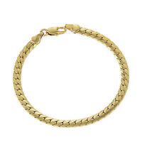 vintage 18k yellow gold filled Mens women chain snake long bracelet 7.76in