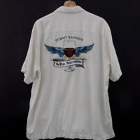 Tommy Bahama Mens Silk Embroidered Button Shirt Size L Short Sleeve