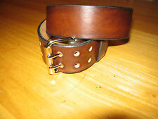 CUSTOM MADE GENUINE LEATHER BELT 1 3/4'' WIDE DOUBLE PRONG BUCKLE ANTIQUE BROWN